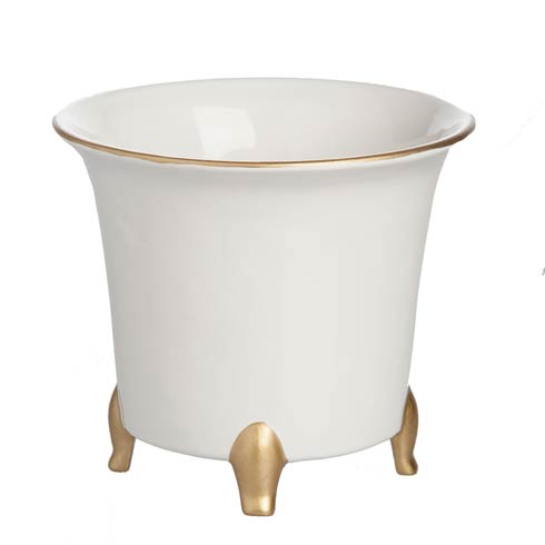 $49.00 Cachepot, White/Gold, Small