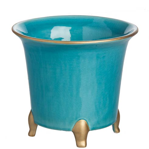 $59.00 Cachepot, Turquoise/Gold, Large