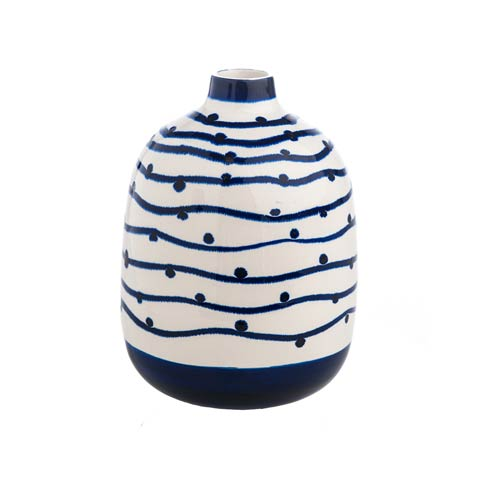 $44.00 Navy Wave with Dots Vase