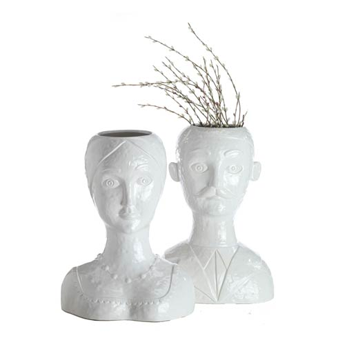 $166.00 Male Head Vase, White