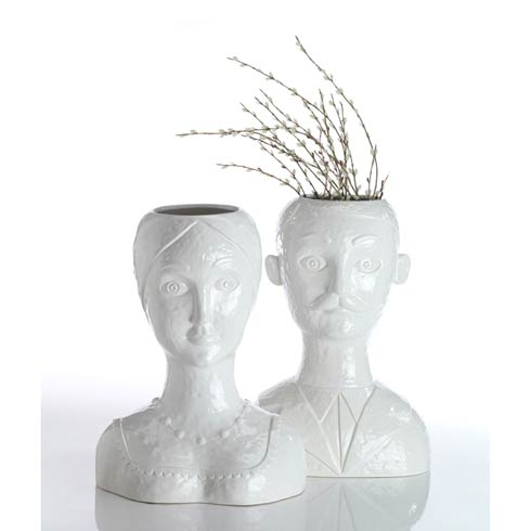 $166.00 Female Head Vase, White