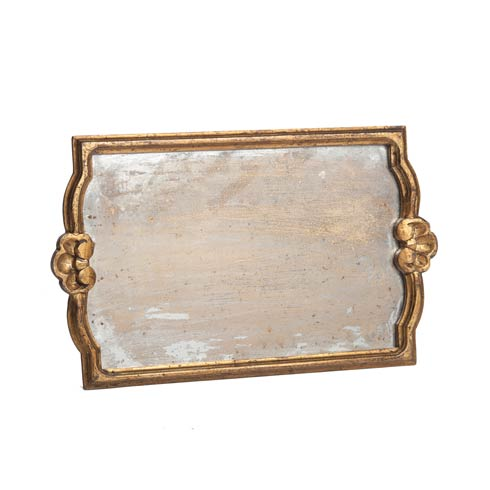 $158.00 Tray with Antiqued Mirror, Gold