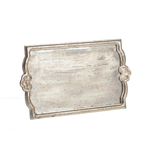 $158.00 Tray with Antiqued Mirror, Silver