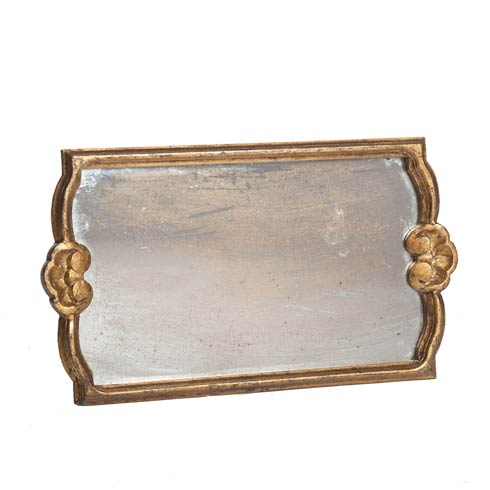 $146.00 Tray with Antiqued Mirror, Gold