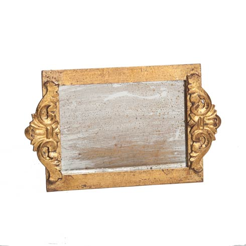 $86.00 Vanity Tray Antiqued Mirror, Gold