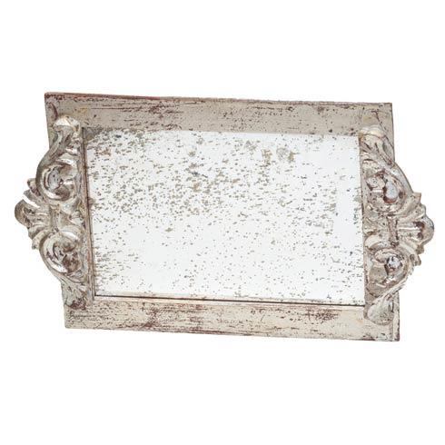 $86.00 Vanity Tray Antiqued Mirror, Silver
