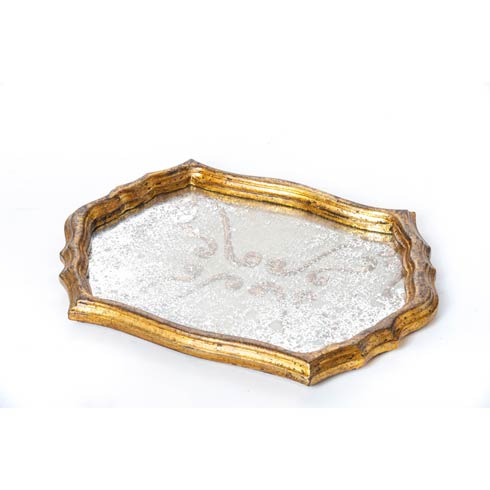 $191.00 Tray Vintage Fabric with Gold