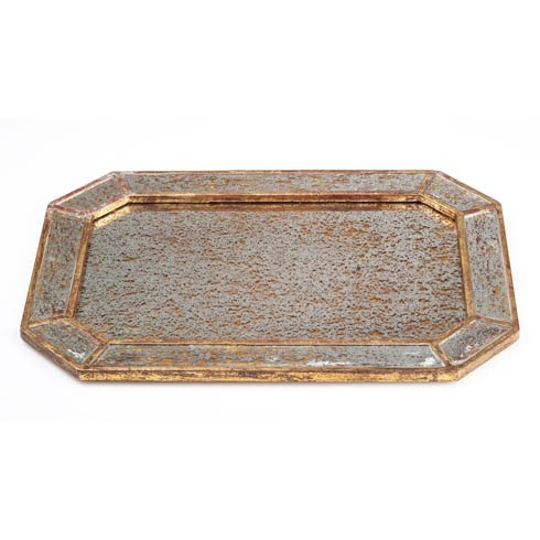 $178.00 Mirrored Tray with Gold Finish, Octagonal