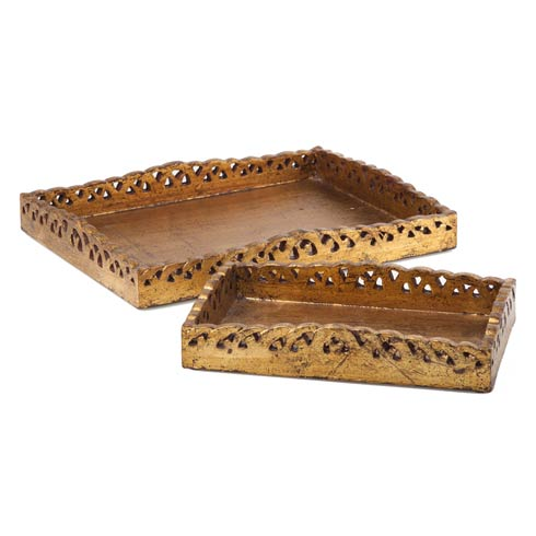 $178.00 Wooden Tray Set, Gold, Set Of 2