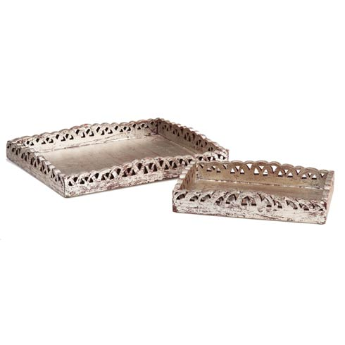 $166.00 Wooden Tray Set, Silver, Set Of 2