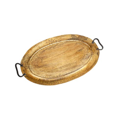 $161.00 Rimmed Oval Metal Tray, Gold Antiqued, Small
