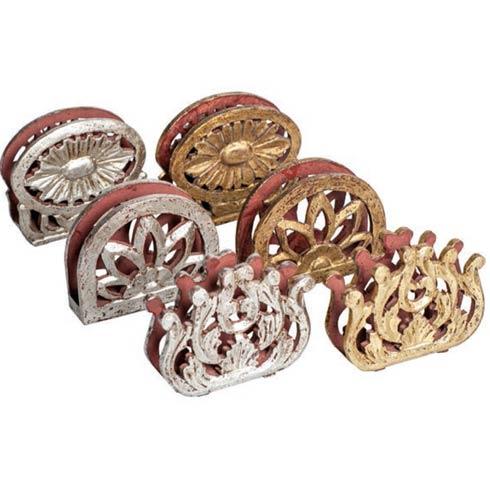 $79.00 Napkin Holder, Gold/Silver, Set Of 6