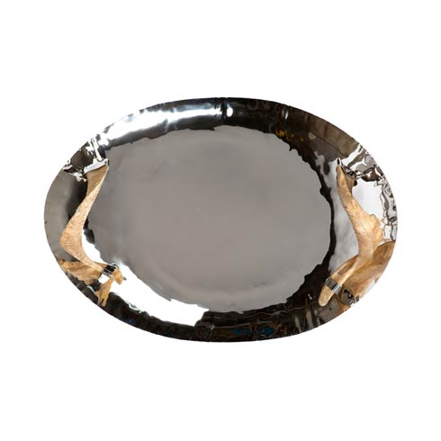 $470.00 Nickel Tray with Horn Handles