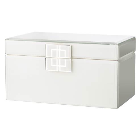 $167.00 White Glass Box with Silver Geometric Design