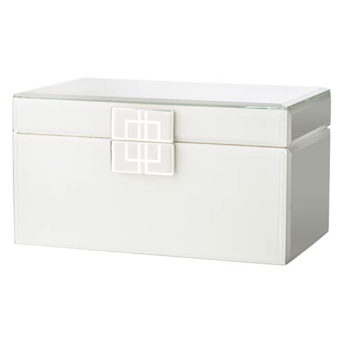 $167.00 White Glass Box with Silver Geometric Design