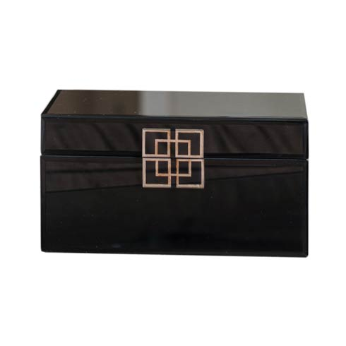 $167.00 Black Glass Box with Silver Geometric Design