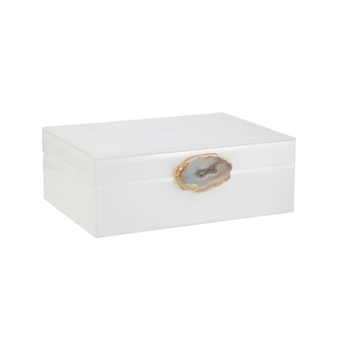 $167.00 White Glass Box with Agate