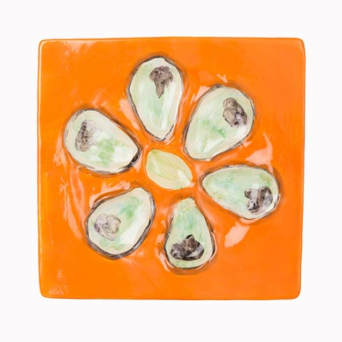 $125.00 Oyster Plate Square Mango, Set Of 4