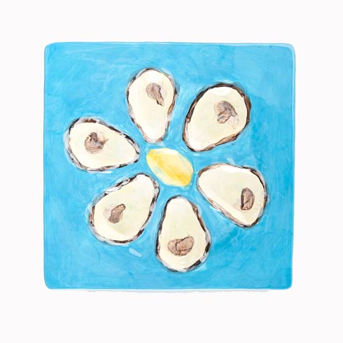 $144.00 Oyster Plate Square Turquoise, Set Of 4