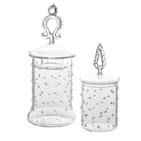 $48.00 Apothecary Jar with Small Dots, Set Of 2