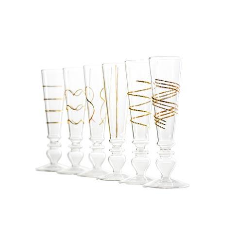 $139.00 Stemmed Flutes, Gold, Set Of 6