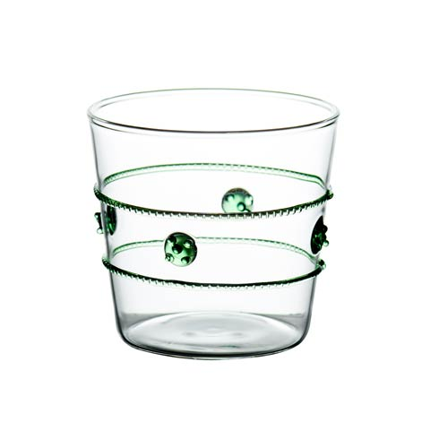 $77.00 Double Old Fashioned Glass, Green Rope, Set Of 4