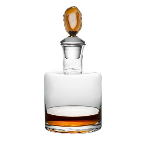 $82.00 Clear Decanter, Brown Agate Topper