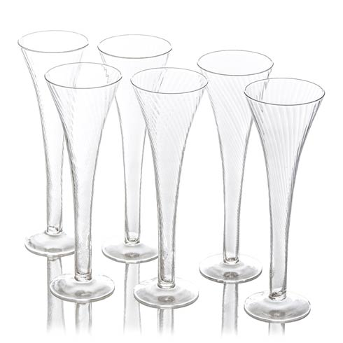 $79.00 Champagne Flute, Optic Design, Set Of 6
