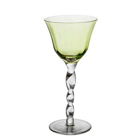 $91.00 Wine Glass, Green Top, Set Of 4