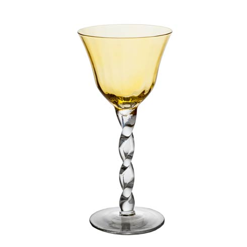 $91.00 Wine Glass, Yellow Top, Set Of 4
