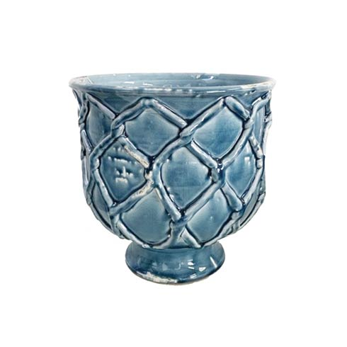 Criss Cross Planter, French Blue, Small