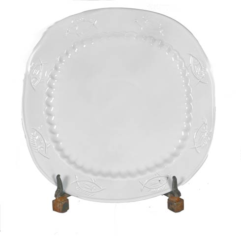 $24.00 Fish Square Platter, White