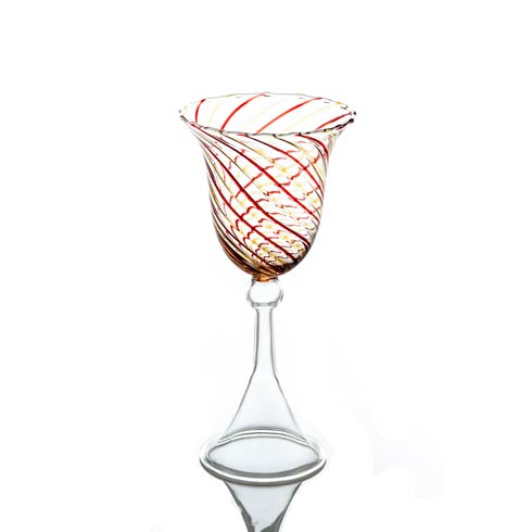 $43.00 Water Glass, Red/Yellow Swirl, Set Of 4