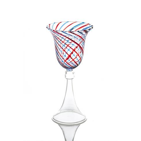 $43.00 Wine Glass, Red/Blue Swirl, Set Of 4