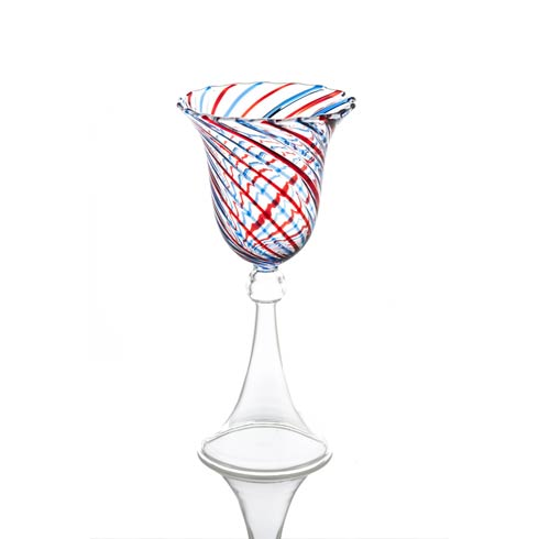$43.00 Wine Glass, Red/Blue Swirl, Set Of 4