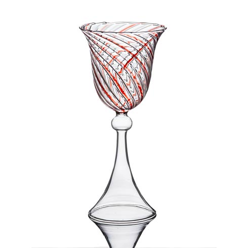 $43.00 Wine Glass, Red Swirl, Set Of 4