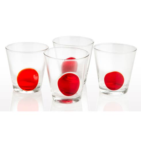 $58.00 Double Old Fashioned Clear With Red Dot, Set Of 4
