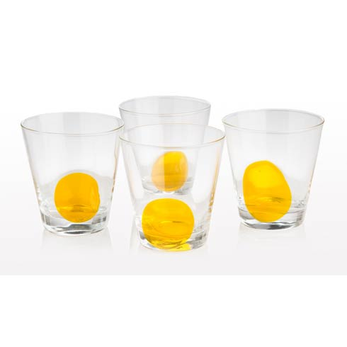 $58.00 Double Old Fashioned Clear With Yellow Dot, Set Of 4
