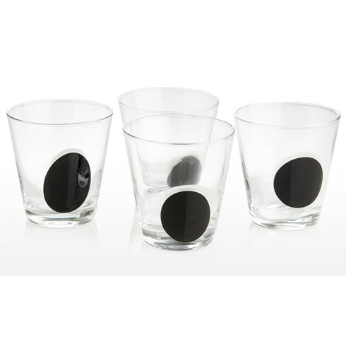 $58.00 Double Old Fashioned Clear With Black Dot, Set Of 4