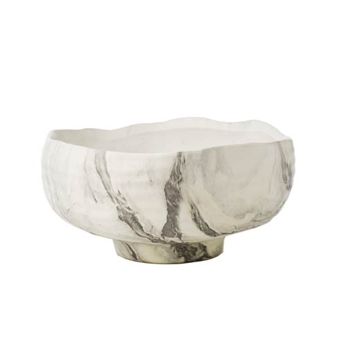 $113.00 Marbelized Bowl, Black/White