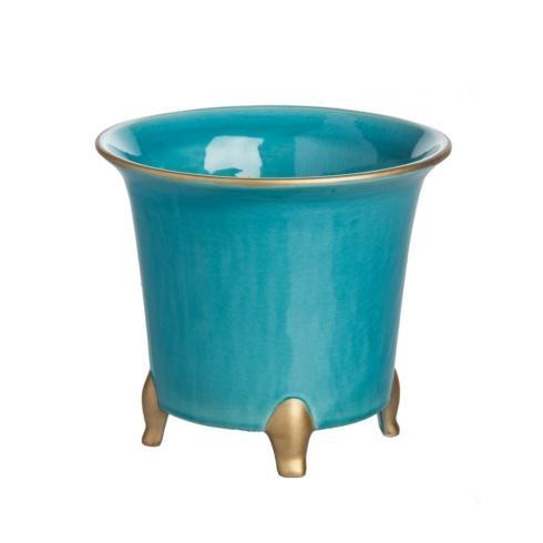 $49.00 Cachepot, Turquoise/Gold, Small