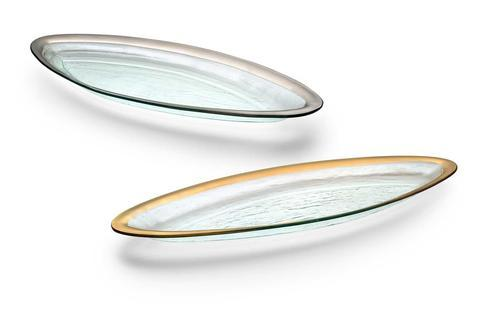 "Annieglass  Roman Antique 25 x 11"" salmon platter $252.00"