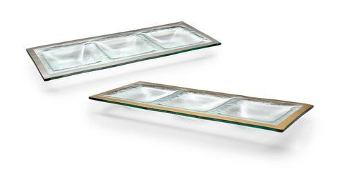 "Annieglass  Roman Antique 14 x 5 1/2"" three-section tray $92.00"