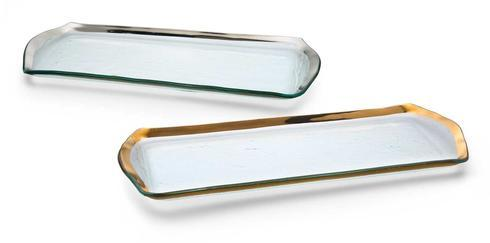 "Annieglass  Roman Antique 16 3/4 x 6 3/4"" oblong pastry tray $151.00"