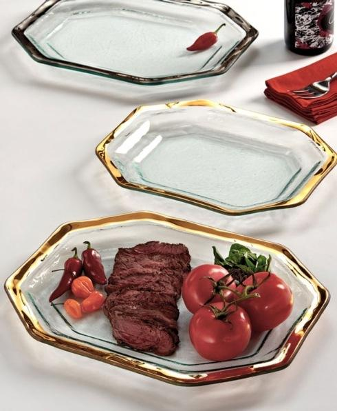 Annieglass  Roman Antique Large Steak Platter Tray $200.00