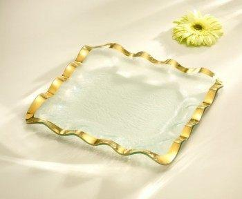 "Annieglass  Ruffle 15"" square tray $227.00"