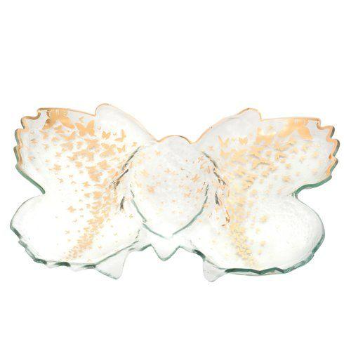 "Annieglass  Butterfly 18 x 14"" butterfly chip & dip server $179.00"