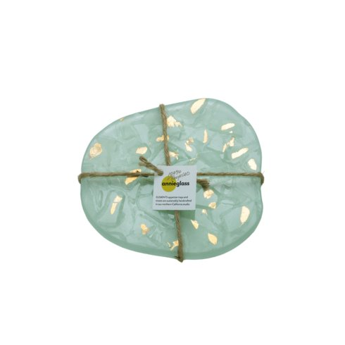 "Annieglass  Elements 7 ½ x 7 ½"" earth trivet - gold $67.00"