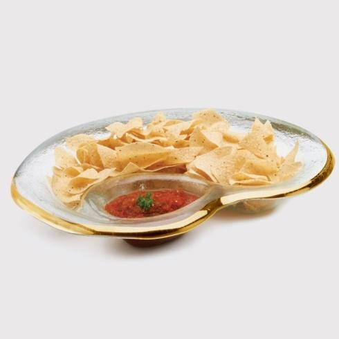"Annieglass  Roman Antique 17 x 12 1/2"" chip & dip bowl $197.00"