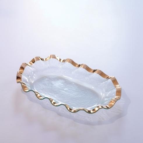 "Annieglass  Ruffle 19 x 12"" large shallow oval bowl $242.00"